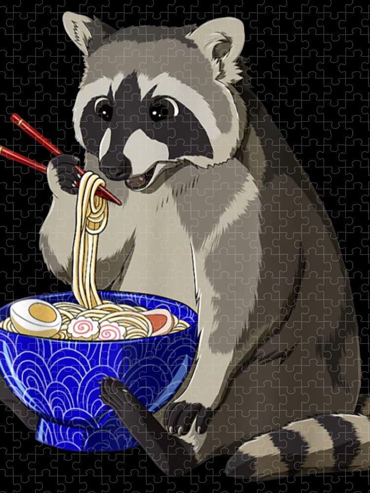 Raccoon eating Ramen Puzzle for Sale by Front Door 750x1000
