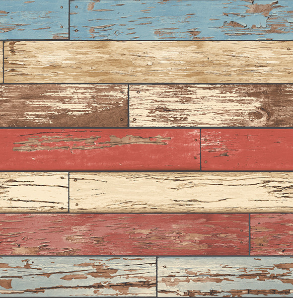 Weathered Wood Wallpaper Red White And Blue Bolt   Modern   Wall 590x600