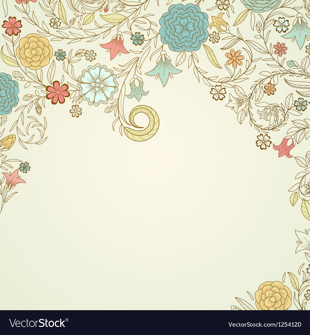 Vintage background with doodle flowers Royalty Vector 1000x1080