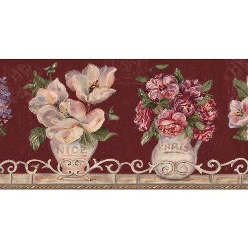 Burgundy Floral Vases Wallpaper Border Home Kitchen 500x500