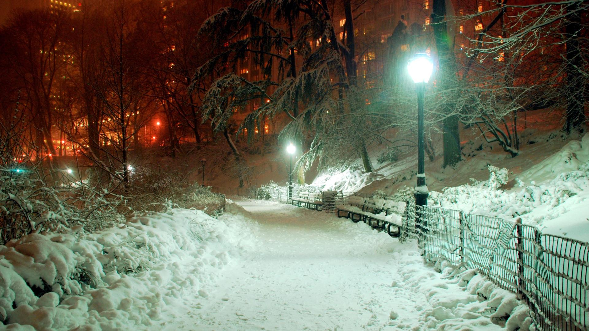 Full HD Wallpaper central park winter lantern path new york 1920x1080