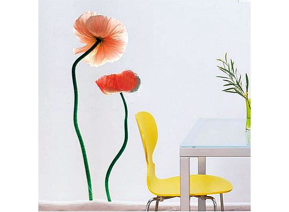 Romantic Flowers Pattern Graffiti Removable Wallpaper specifications 980x720
