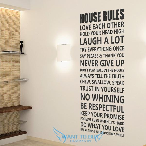 House RulesWall Sticker Quotes And Saying Decals Wallpaper home deco 600x600
