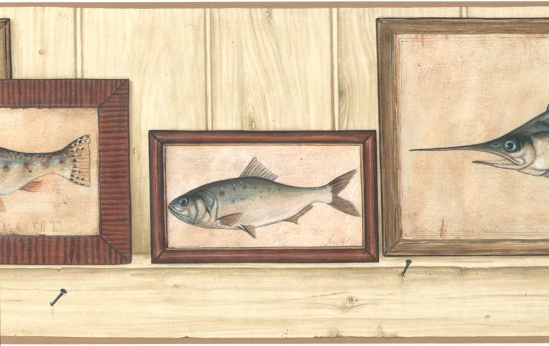 Fish Frame Trout Man Cave Vintage Tan Sword Wallpaper Wall Border 800x504