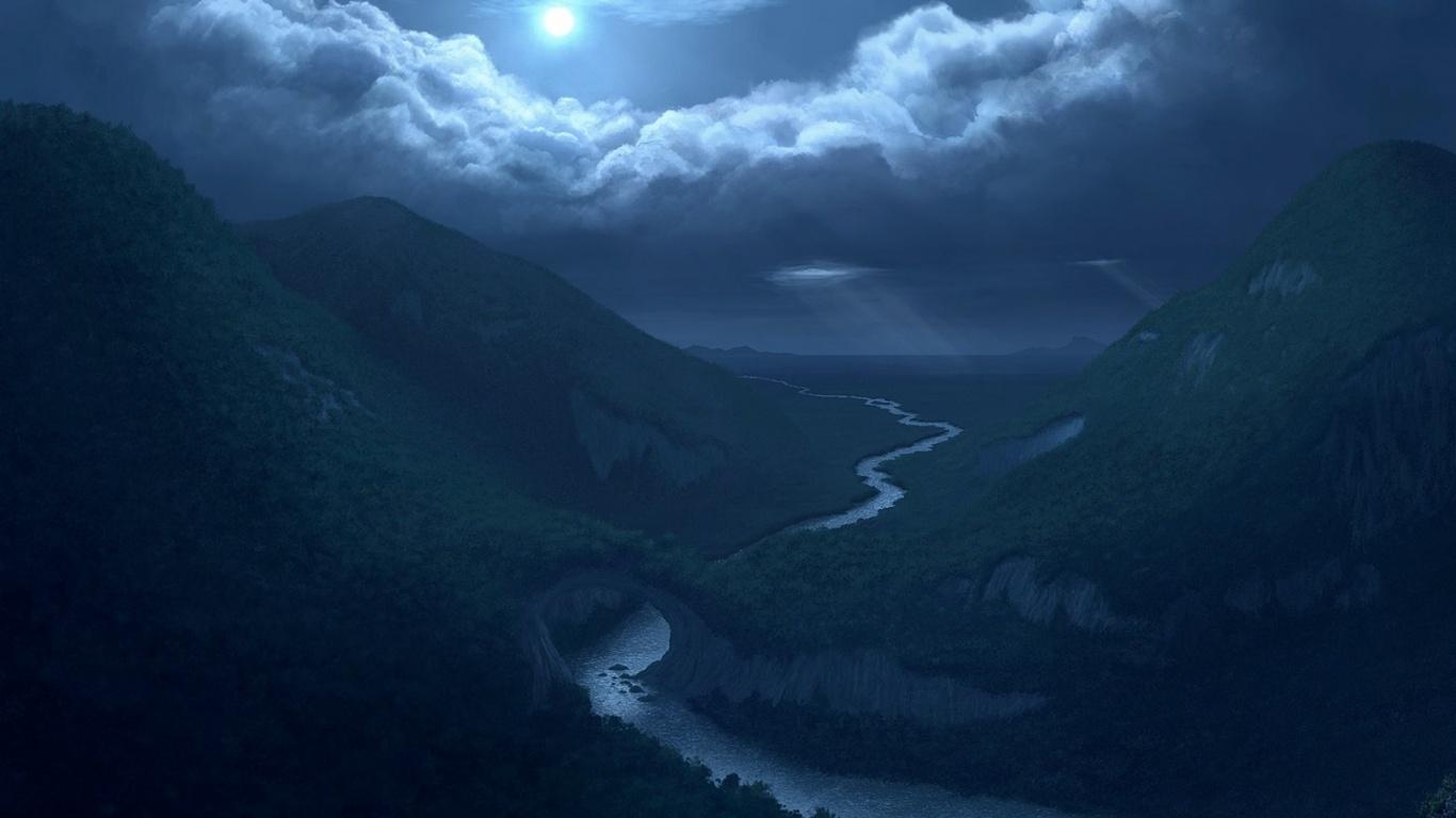 1366x768 Moon Clouds Mountains River desktop PC and Mac wallpaper 1366x768