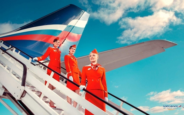 airliners aeroflot commercial flight attendants Wallpaper 600x375