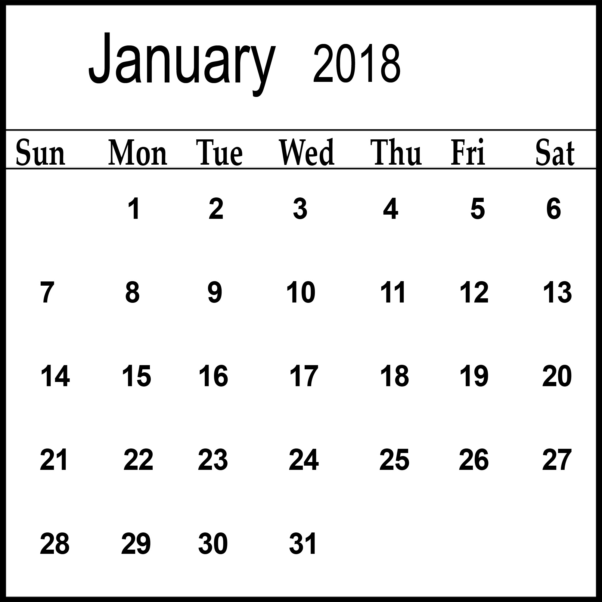 January 2018 Template Calendar Latest HD Pictures 2000x2000