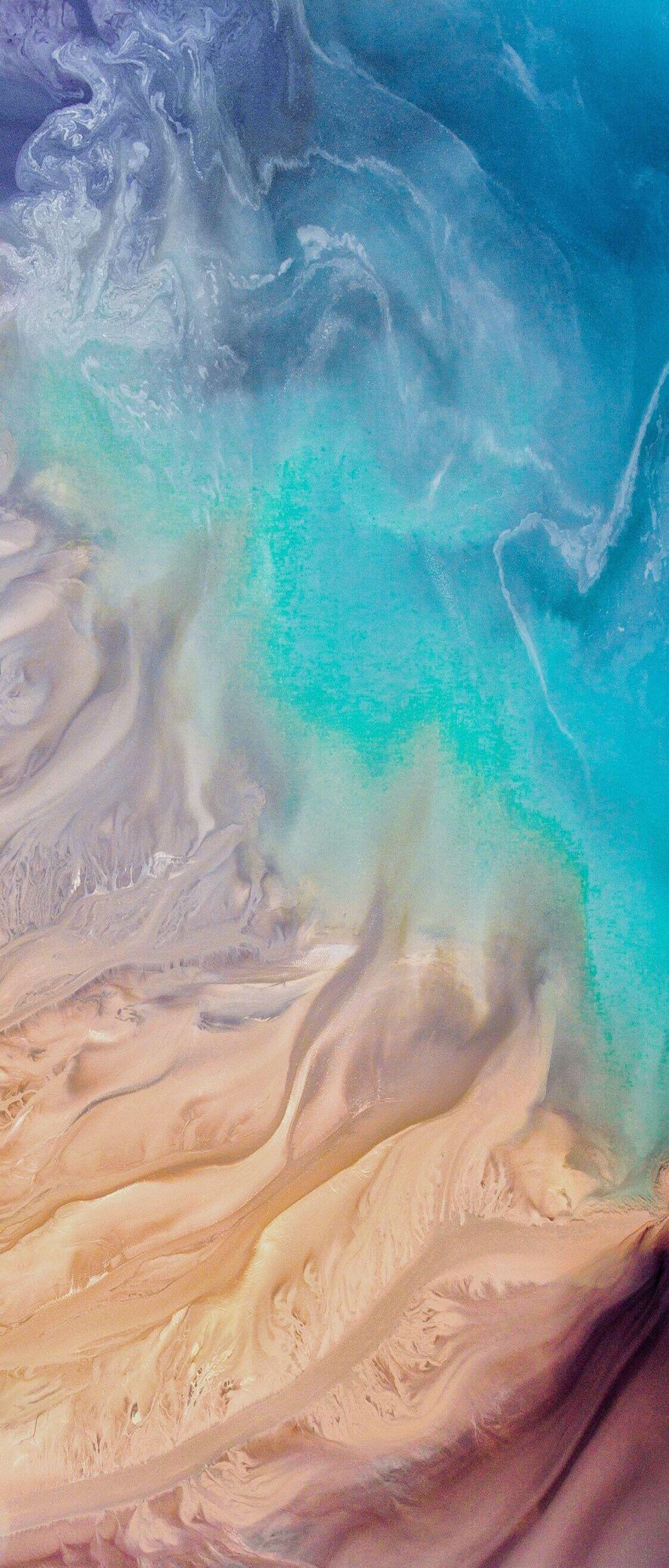 iOS 11 iPhone X Aqua blue Water beach wave ocean apple 1242x2908