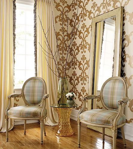 Modern wallpaper Brown blue decor cream metallic damask over 444x500