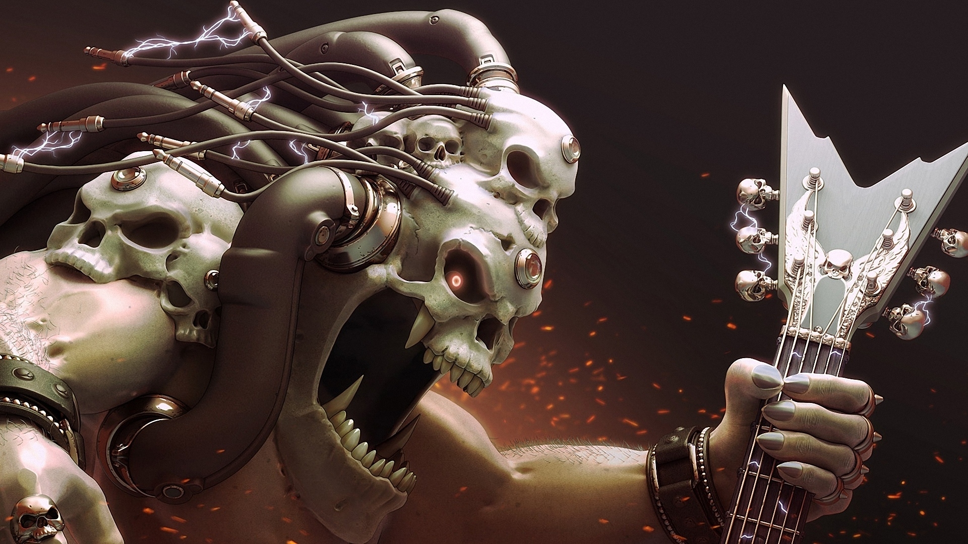 electricity monster music heavy metal skulls wallpaper background 1920x1080