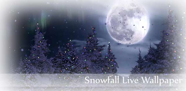 Beautiful Snow Falling Wallpaper Snowfall live wallpaper 600x293