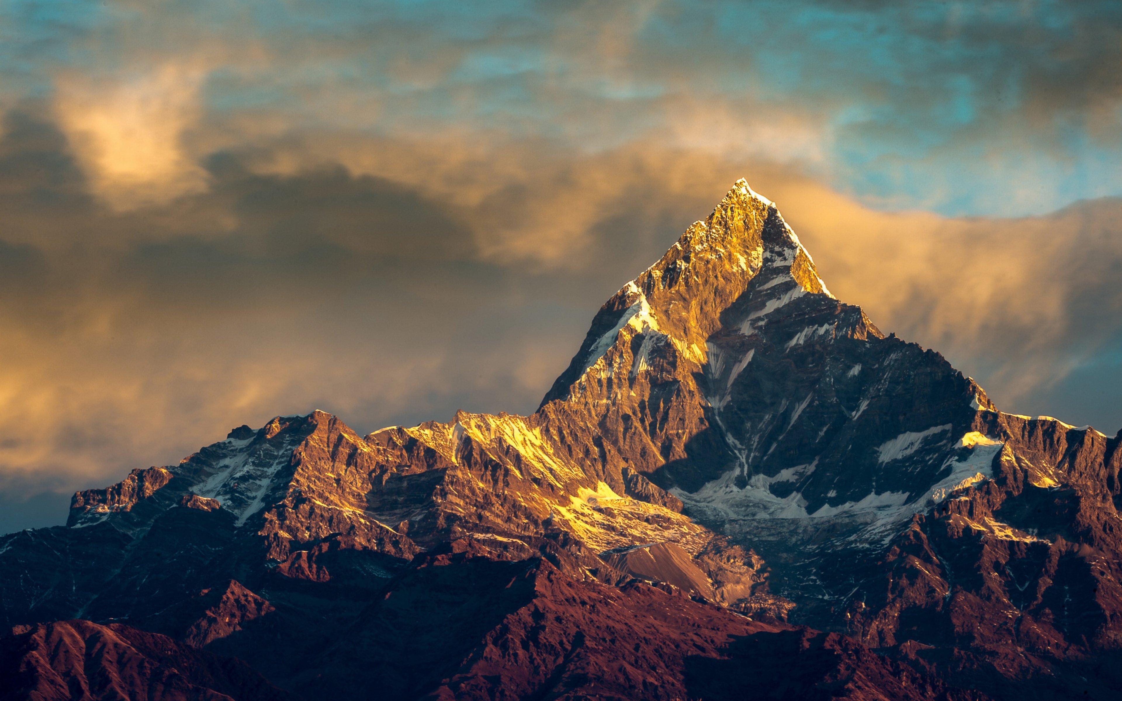 HD Background Annapurna Mountain Nepal Himalayas Range Sky Sunset 3840x2400