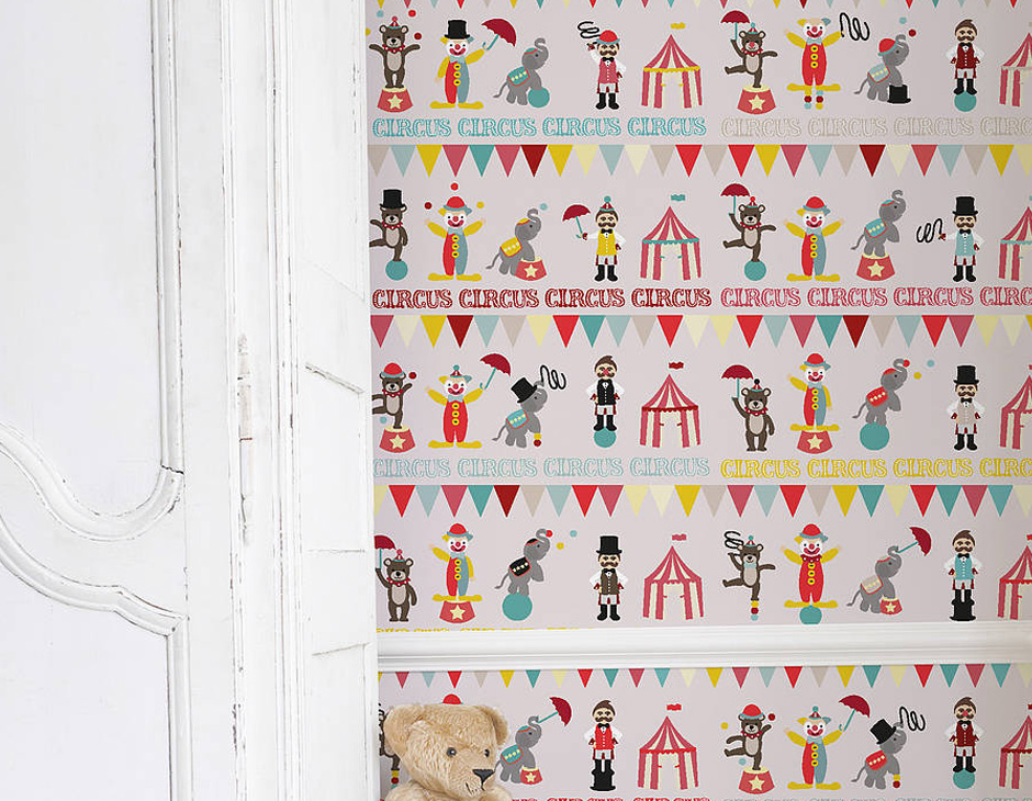 Home Wallpaper Self Adhesive Childrens Circus Wallpaper 940x730