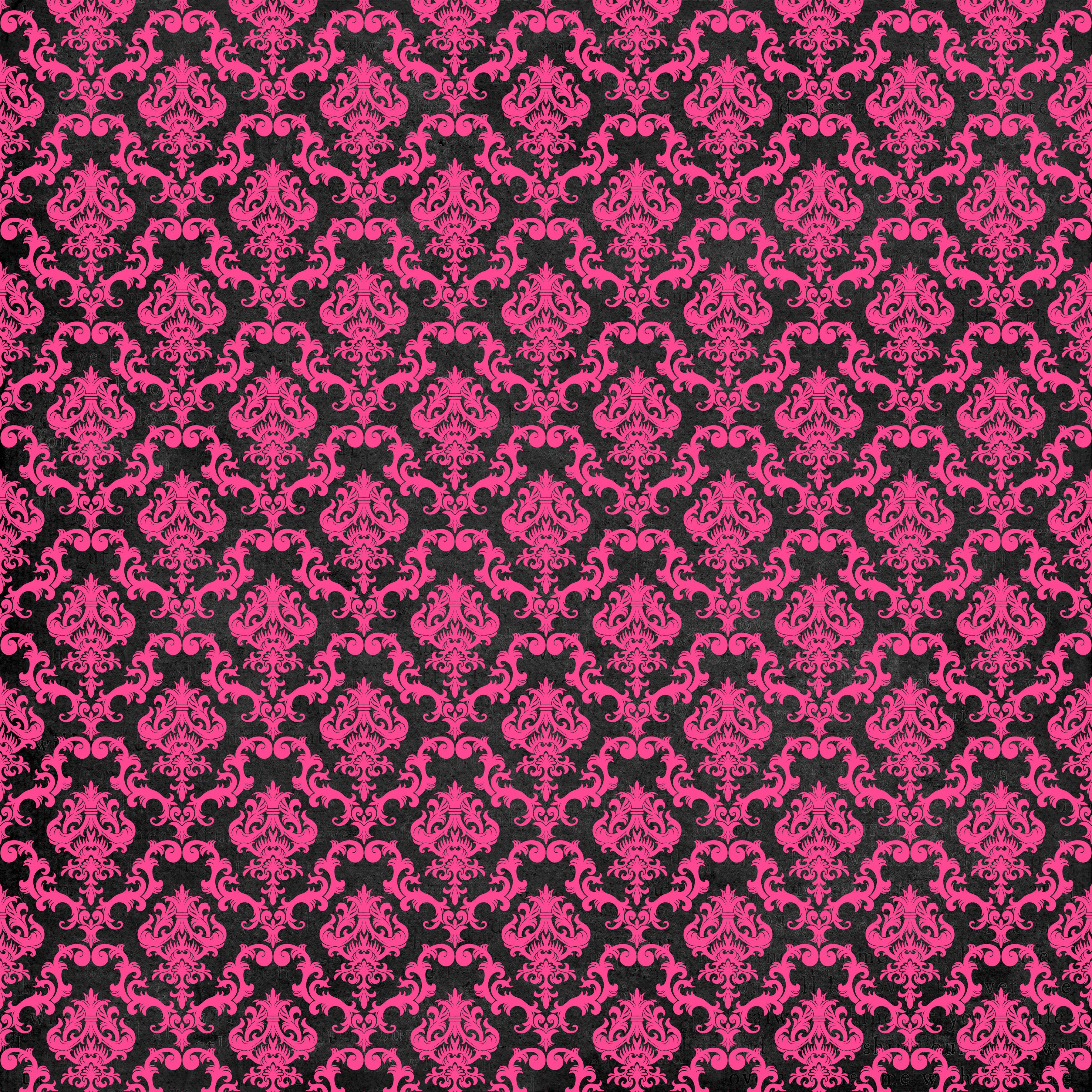 Wallpaper Black Pink: Pink And Black Damask Wallpaper
