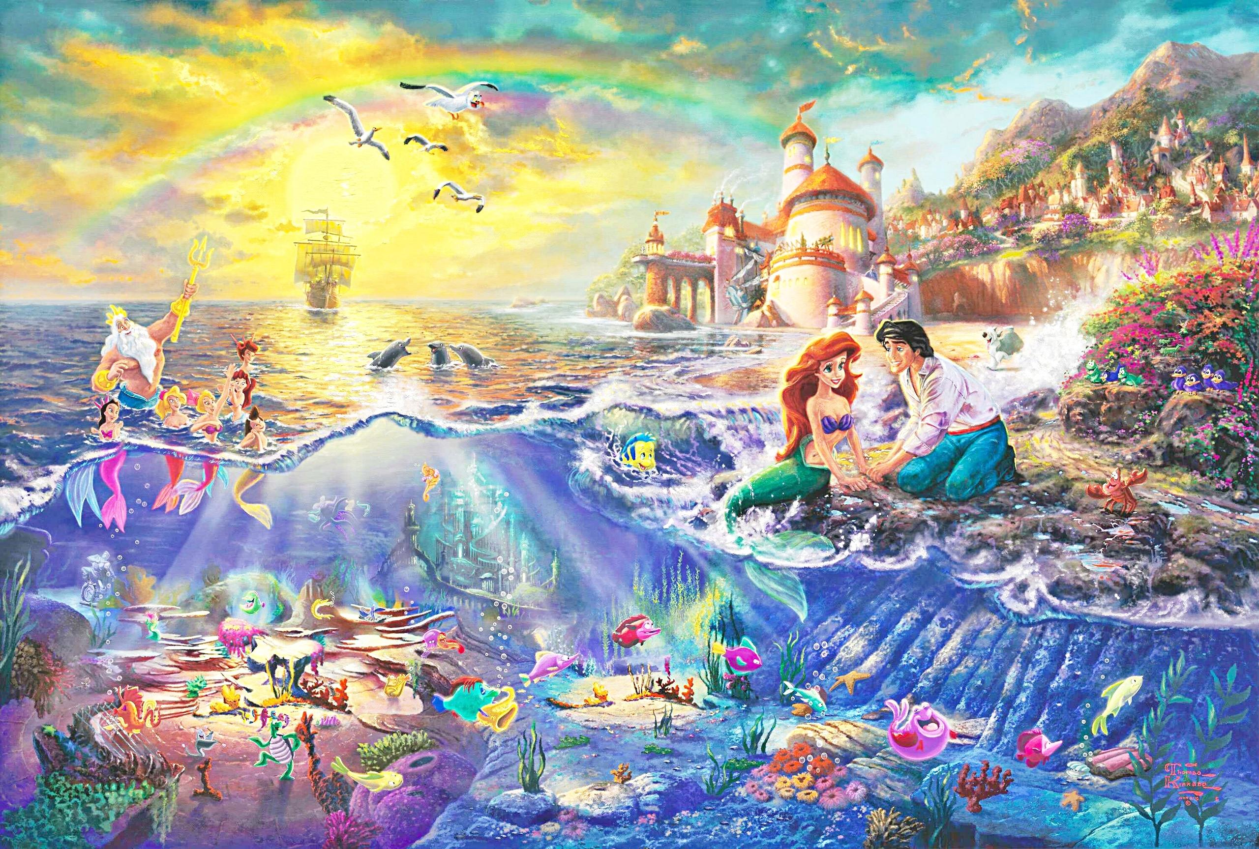 Thomas Kinkade s Disney Paintings The Little Mermaid walt disney 2560x1727
