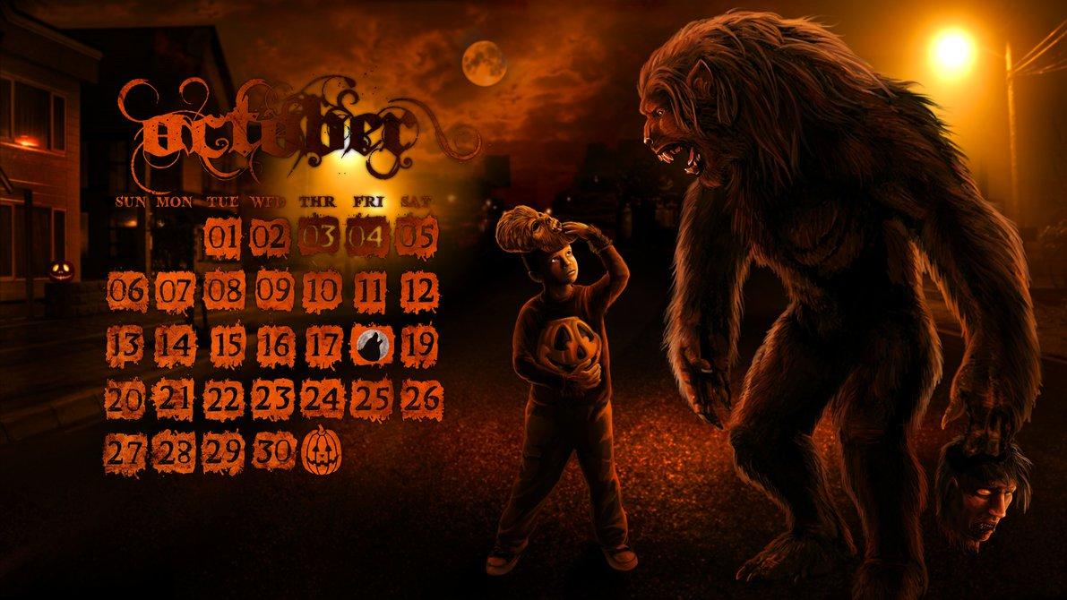 October Werewolf desktop wallpaper calendar by Viergacht 1191x670