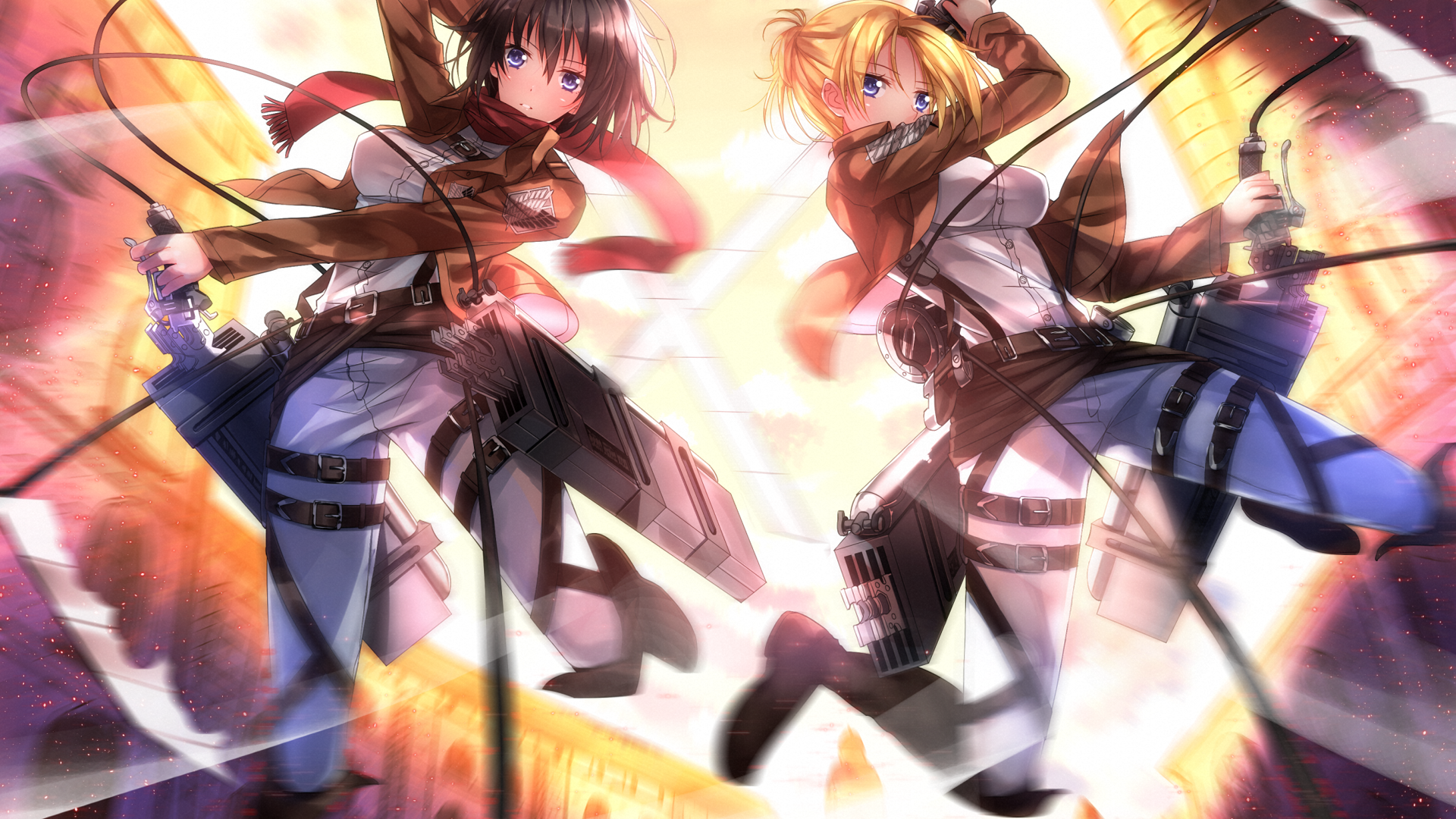 Mikasa Ackerman and Annie Leonhardt   Attack on Titan Wallpaper 4296 1920x1080