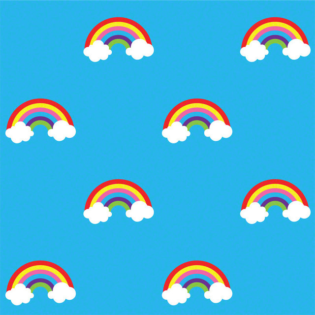 Rainbow Blue Removable Wallpaper Half Kit wallpaper 640x640