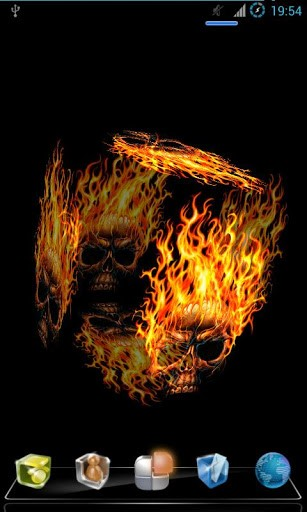 Put this live wallpaper 3D of Fire Skull on your Android phone and 307x512