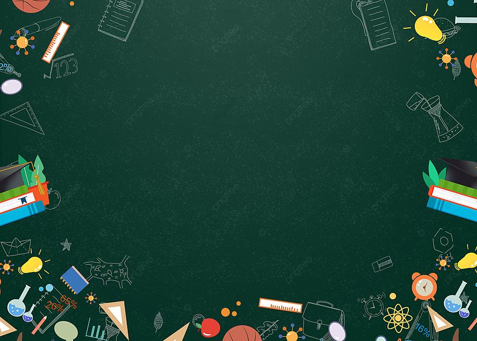 Green Blackboard Hand Drawn Education Tools Graduation Cap 960x686