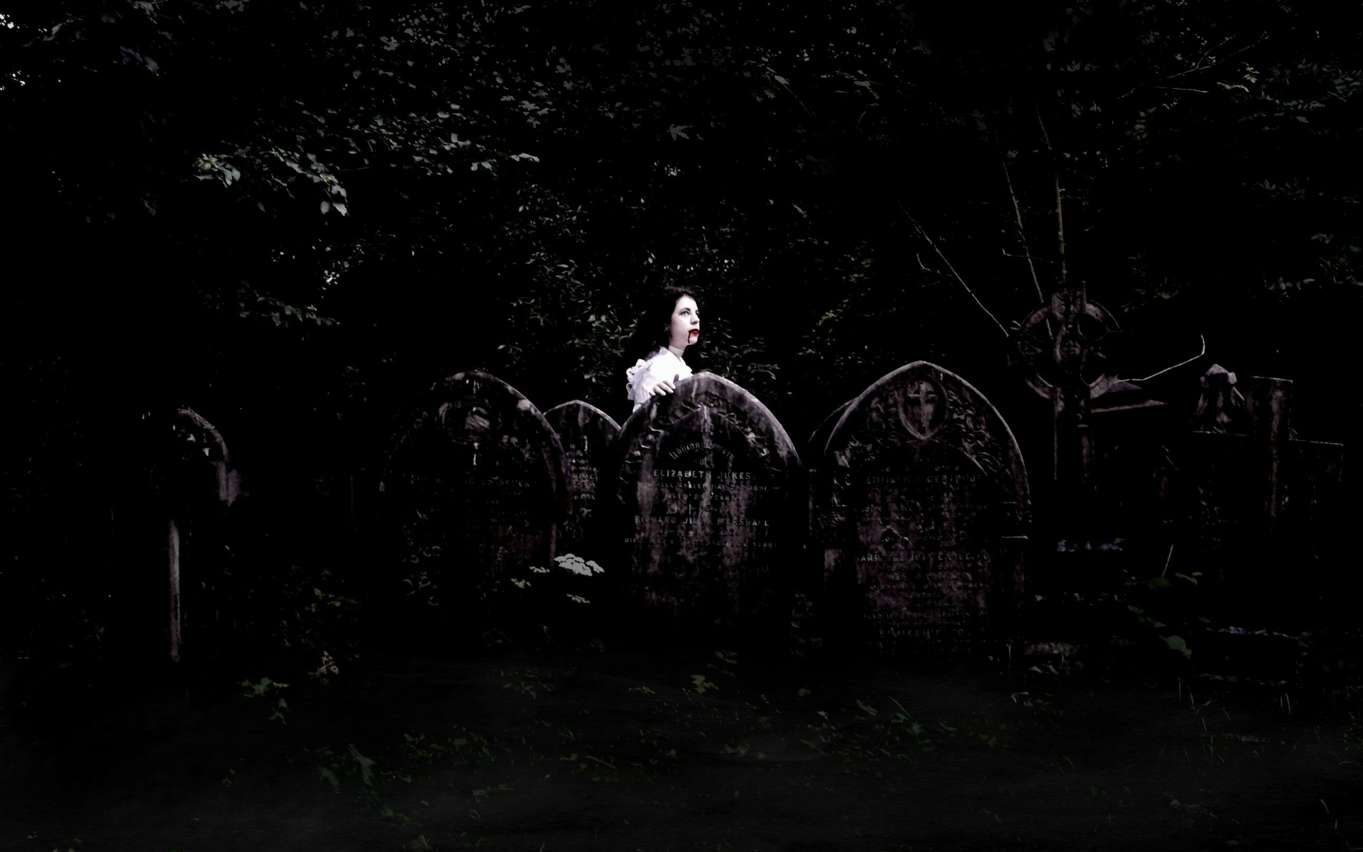 Dark horror fantasy gothic vampires cemetery grave art blood wallpaper 1920x1200
