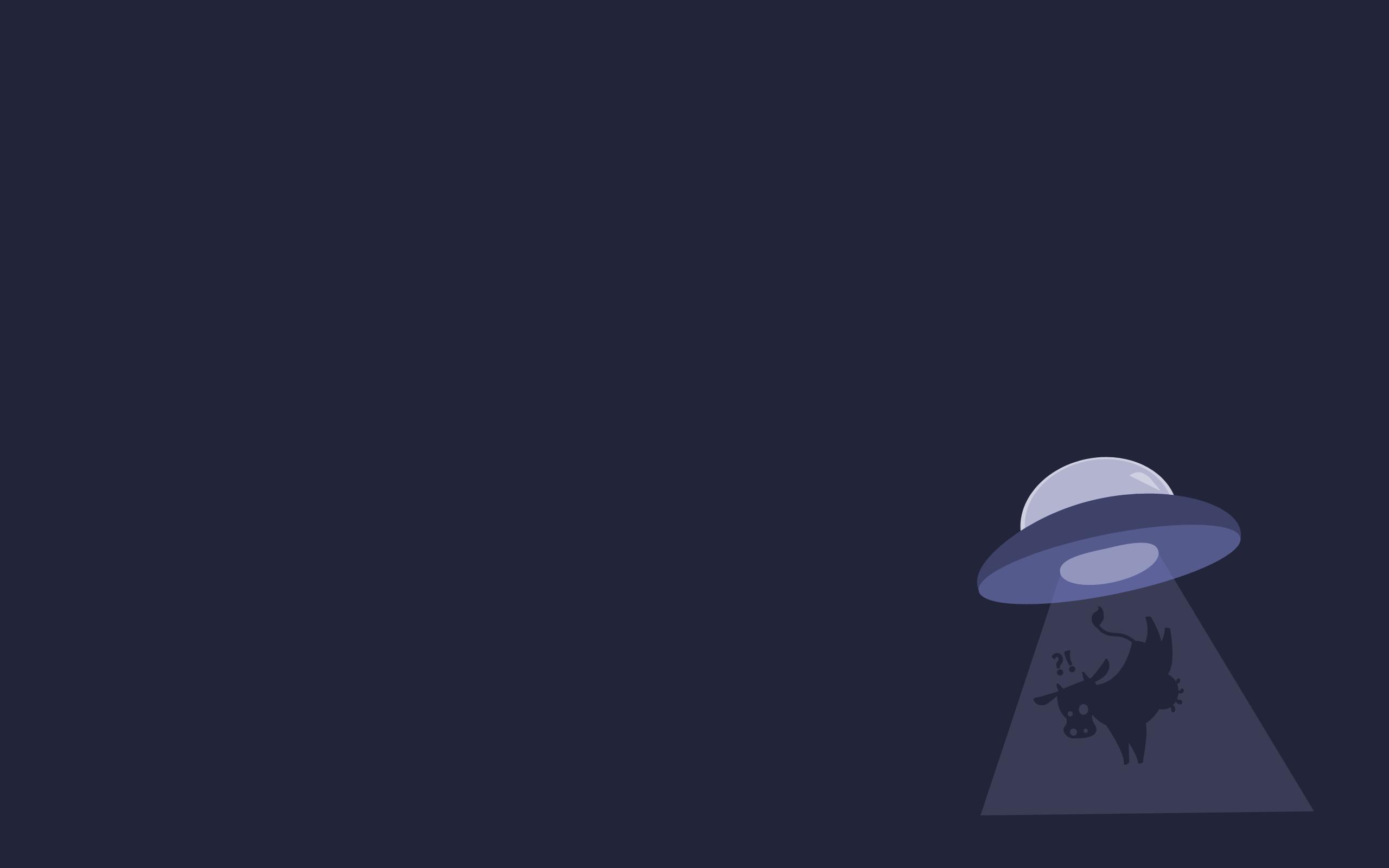Minimalistic gentoo cows ufo abduction alien wallpaper 2560x1600 2560x1600