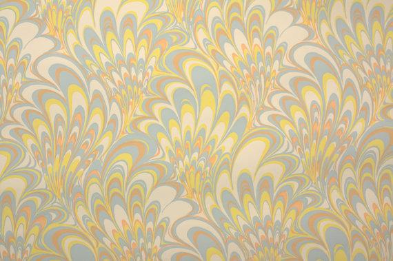 1970s Retro Wallpaper Vintage End Paper Marble Yellow Orange 570x379