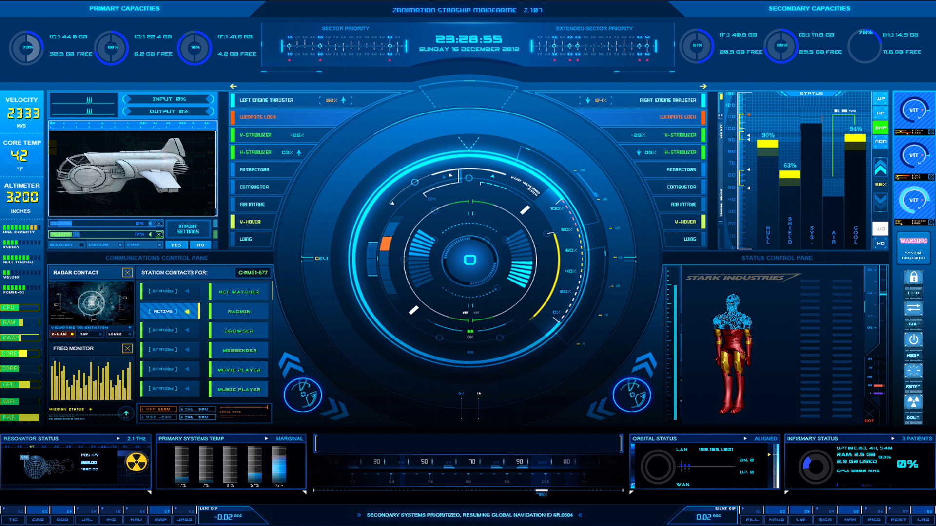 Jarvis Hud Wallpaper Cockpit hud by thezeis 1920x1080