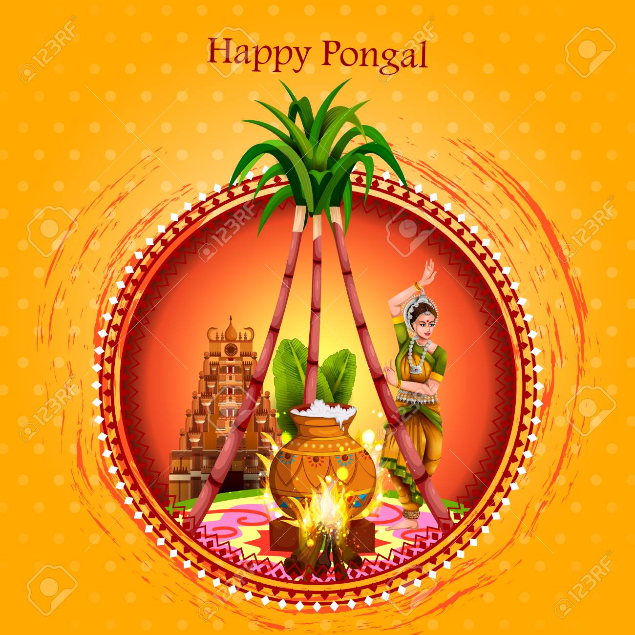 Happy Pongal Festival Of Tamil Nadu India Background Royalty 1300x1300