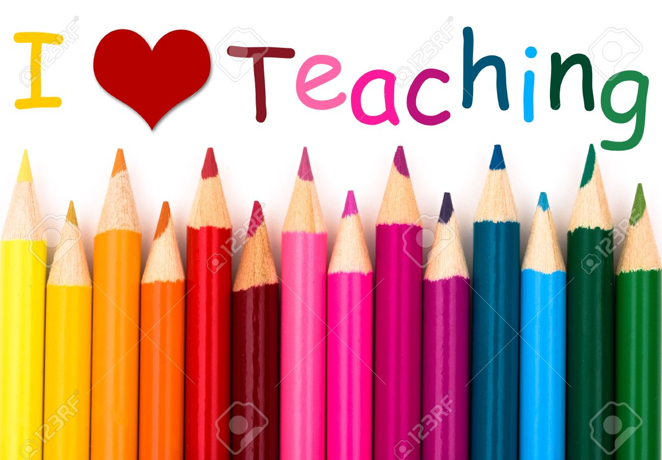 I Love Teaching A Pencil Crayon Border Isolated On White 1300x904