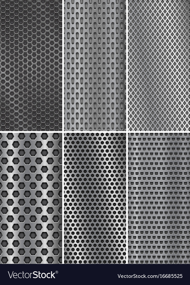 Collection of metal backgrounds perforated steel Vector Image 722x1080