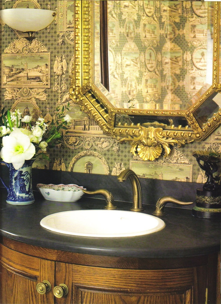gents cloakroom the paper sets the right masculine tone Bathroom 736x1012