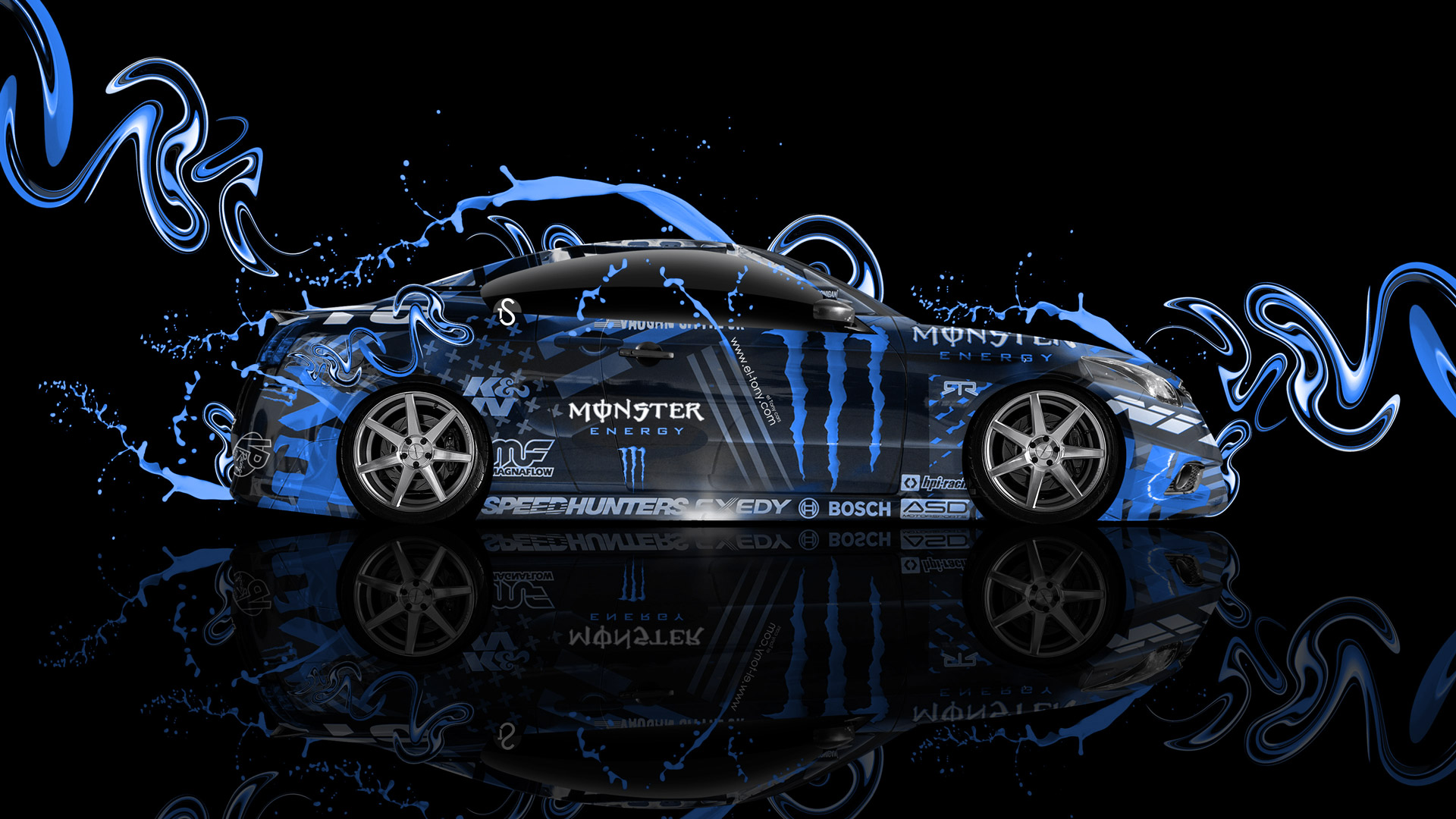 Monster Energy Infiniti G37 Side Plastic Blue Live Colors Car 2014 HD 1920x1080
