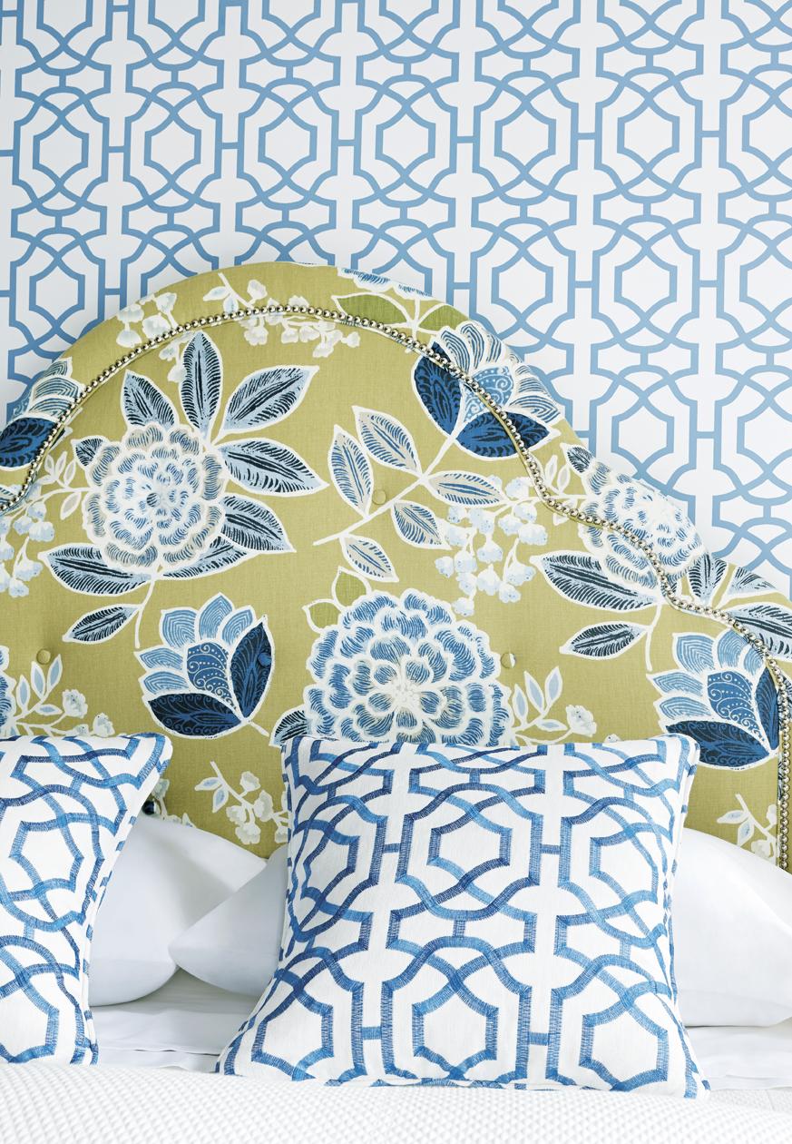 Alston Trellis wallpaper and fabric Sulu fabric on headboard from 873x1260