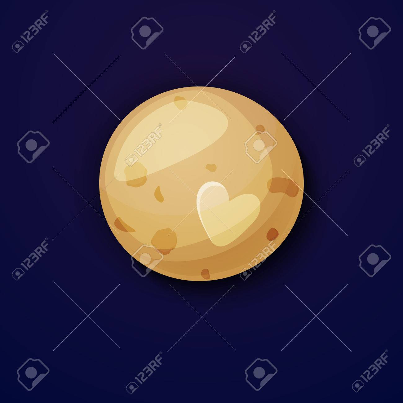 Pluto Planet Space Objects In Cartoon Style On Space Background 1300x1300
