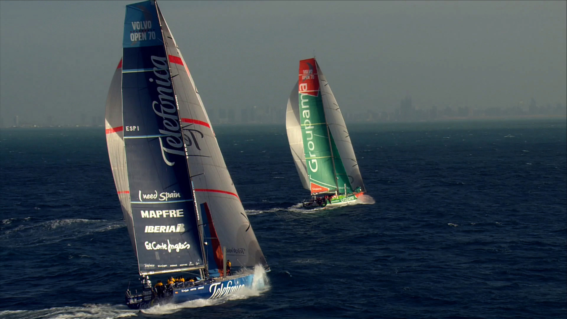volvo ocean race 2 boats sailing