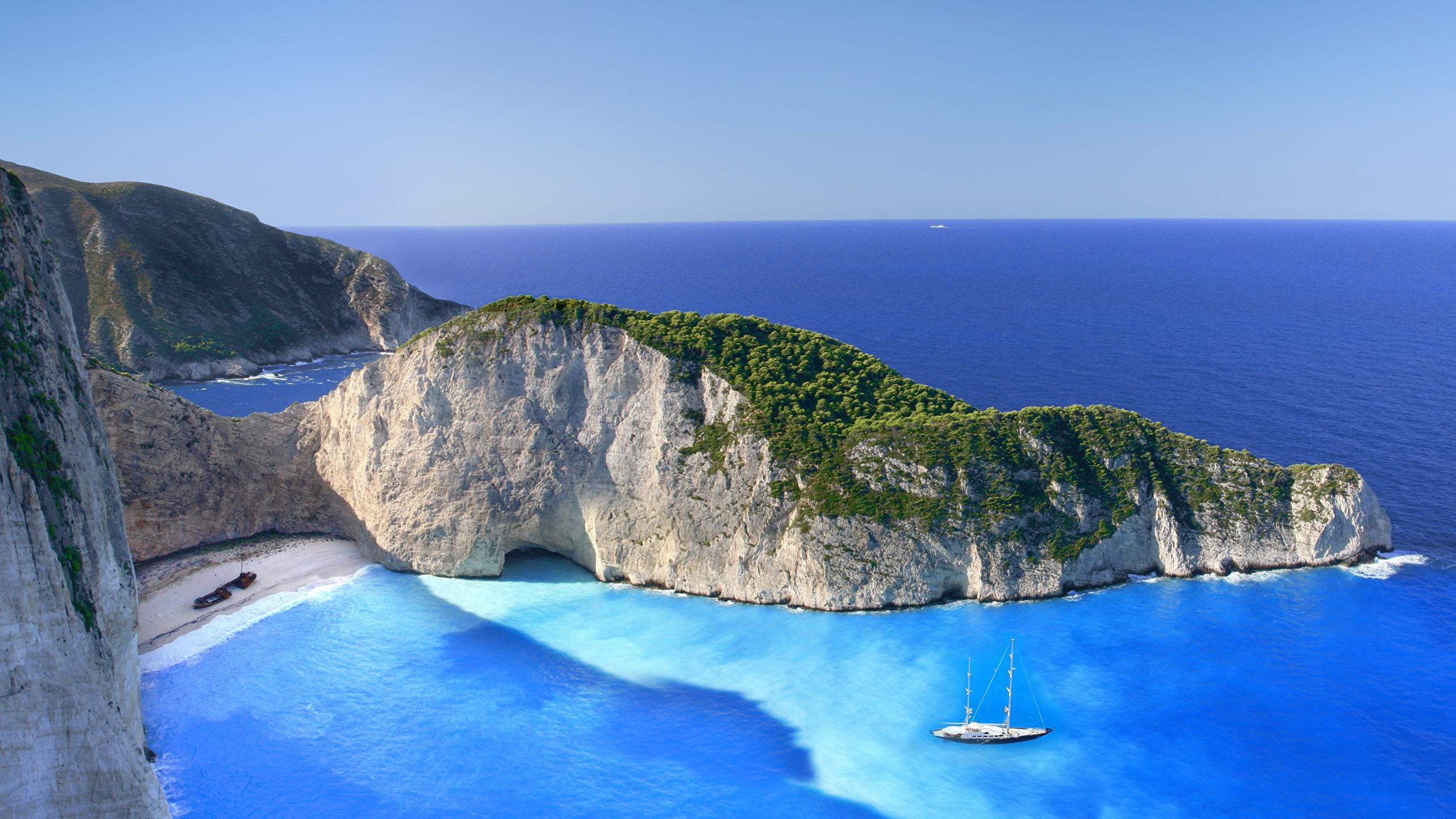 Images Greece Zakynthos Navagio Sea Crag Nature Cove 2560x1440 2560x1440