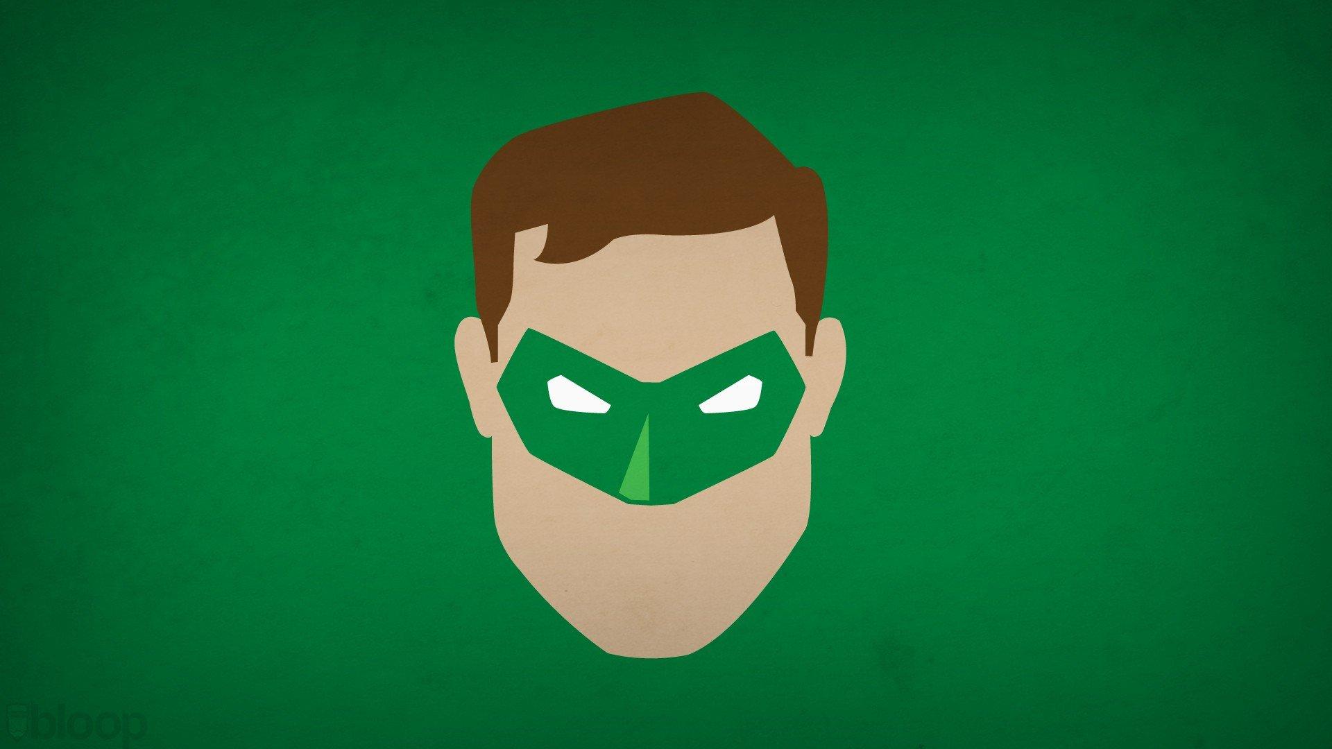 Lantern minimalistic superheroes green background blo0p wallpaper 1920x1080