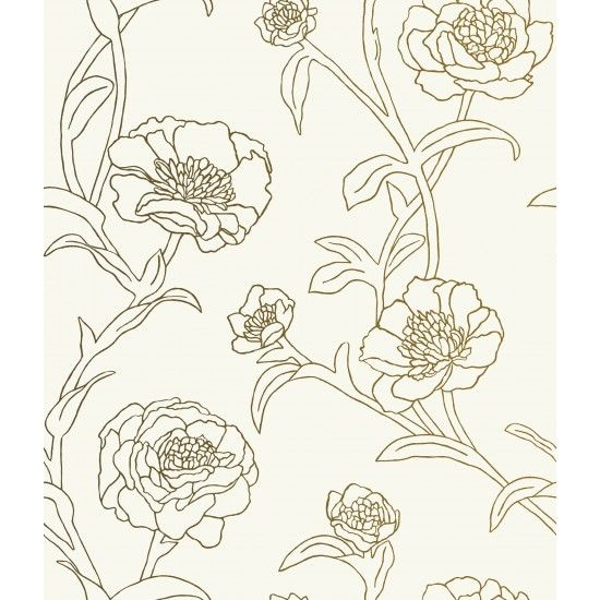 Tempaper Peonies Temporary Wallpaper   Gold Leaf   Wallpaper   Walls 550x550