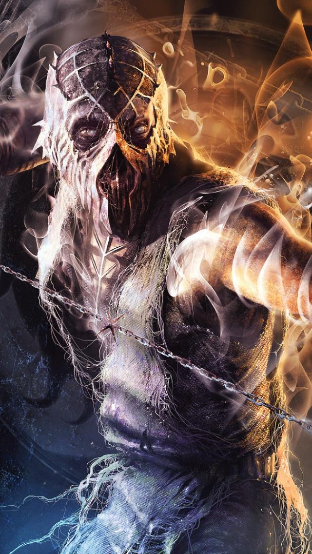 Download Wallpaper 640x1136 Smoke Characters Mortal Kombat IPhone 5S