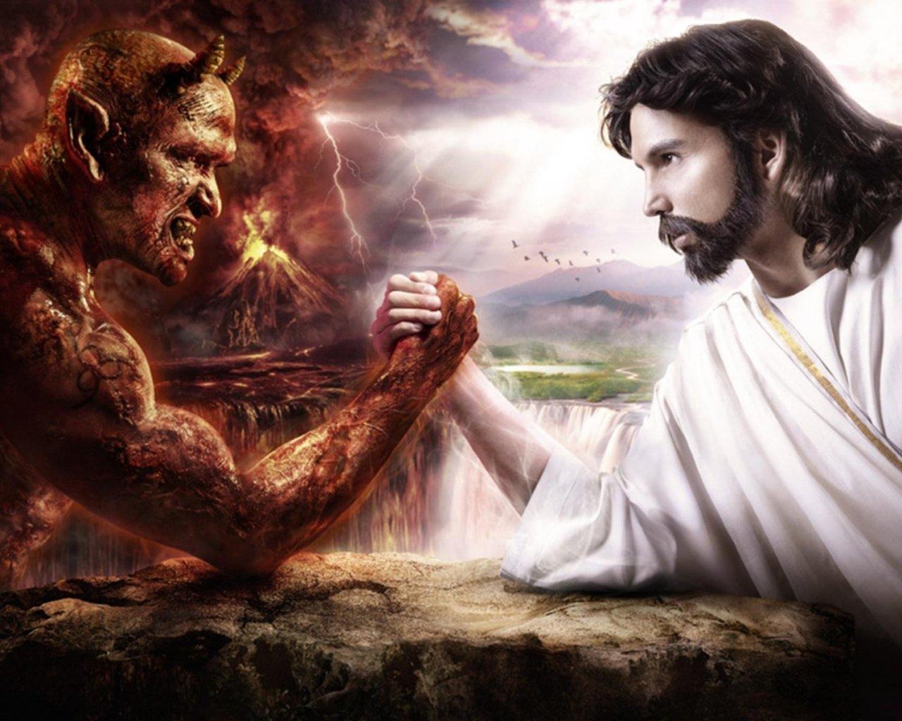 Jesus Vs Satanas   1280x1024 1280x1024