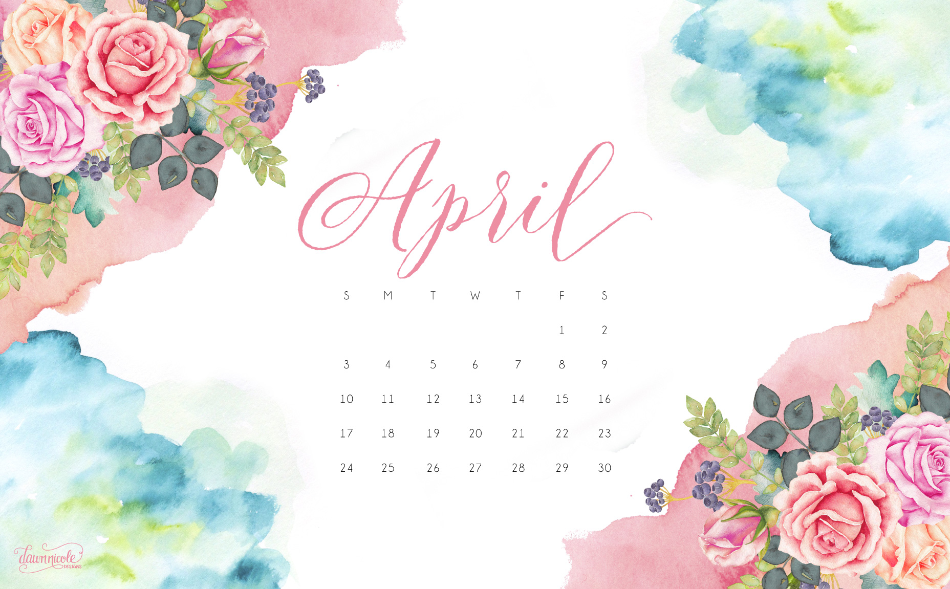 April 2016 Calendar Tech Pretties Dawn Nicole Designs 1856x1151