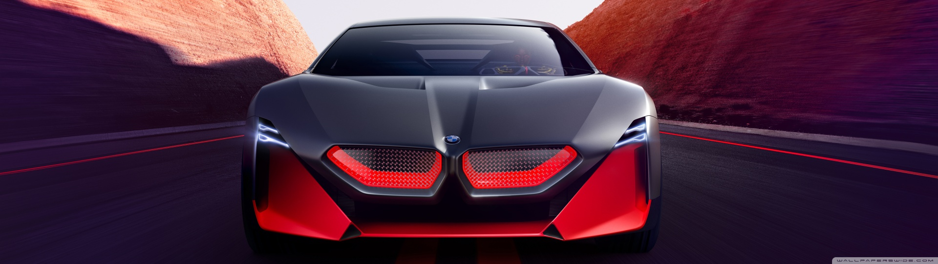 2019 BMW Vision M NEXT Sports Car Road 4K HD Desktop Wallpaper 1920x540