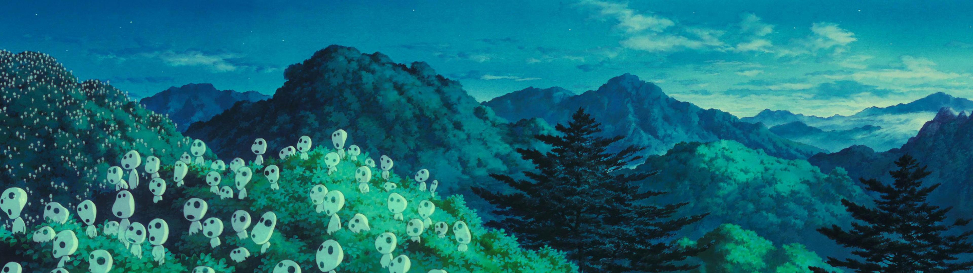 Dual Monitor Kodama Princess Mononoke Wallpaper 3840x1080