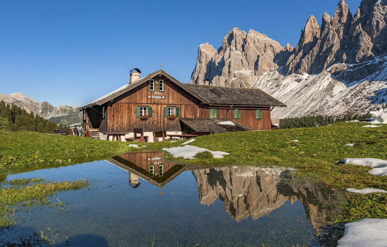 Wallpaper mountains Italy house Italy Trentino Alto Adige 1332x850