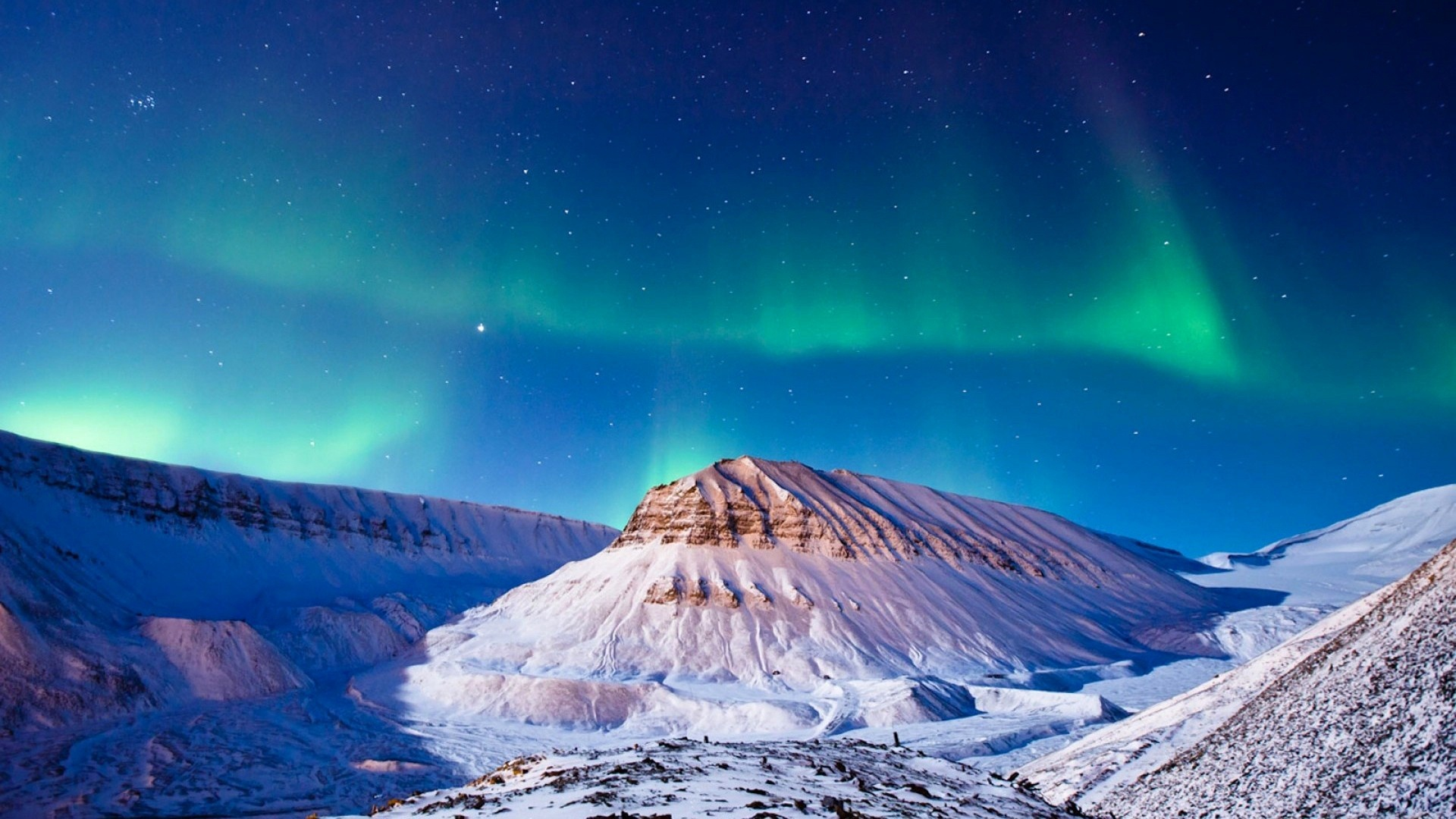 Night Sky Winter Snow Mountains 1920 x 1080 Download Close 1920x1080