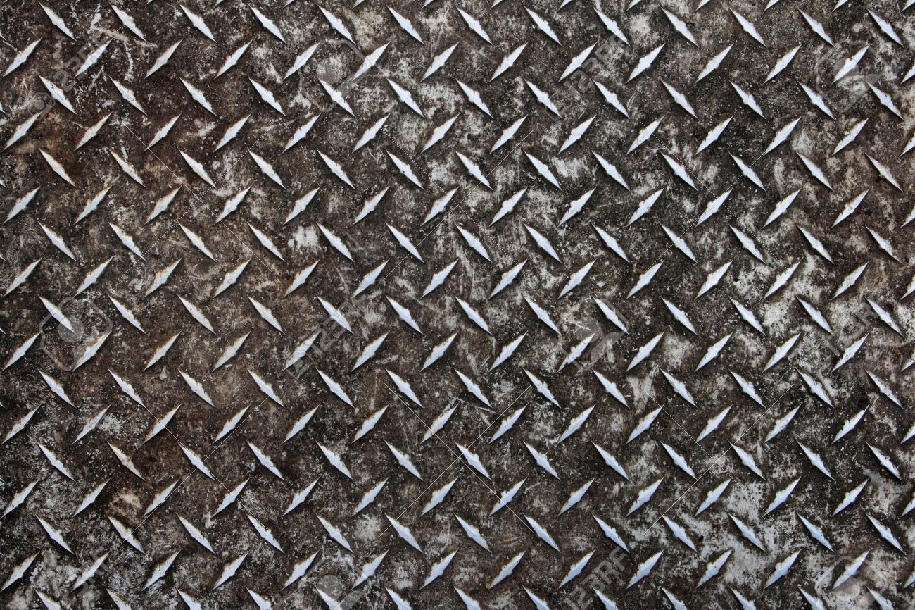 Dirty Worn Old Aluminum Diamond Plate Non skid Surface Background 1300x866