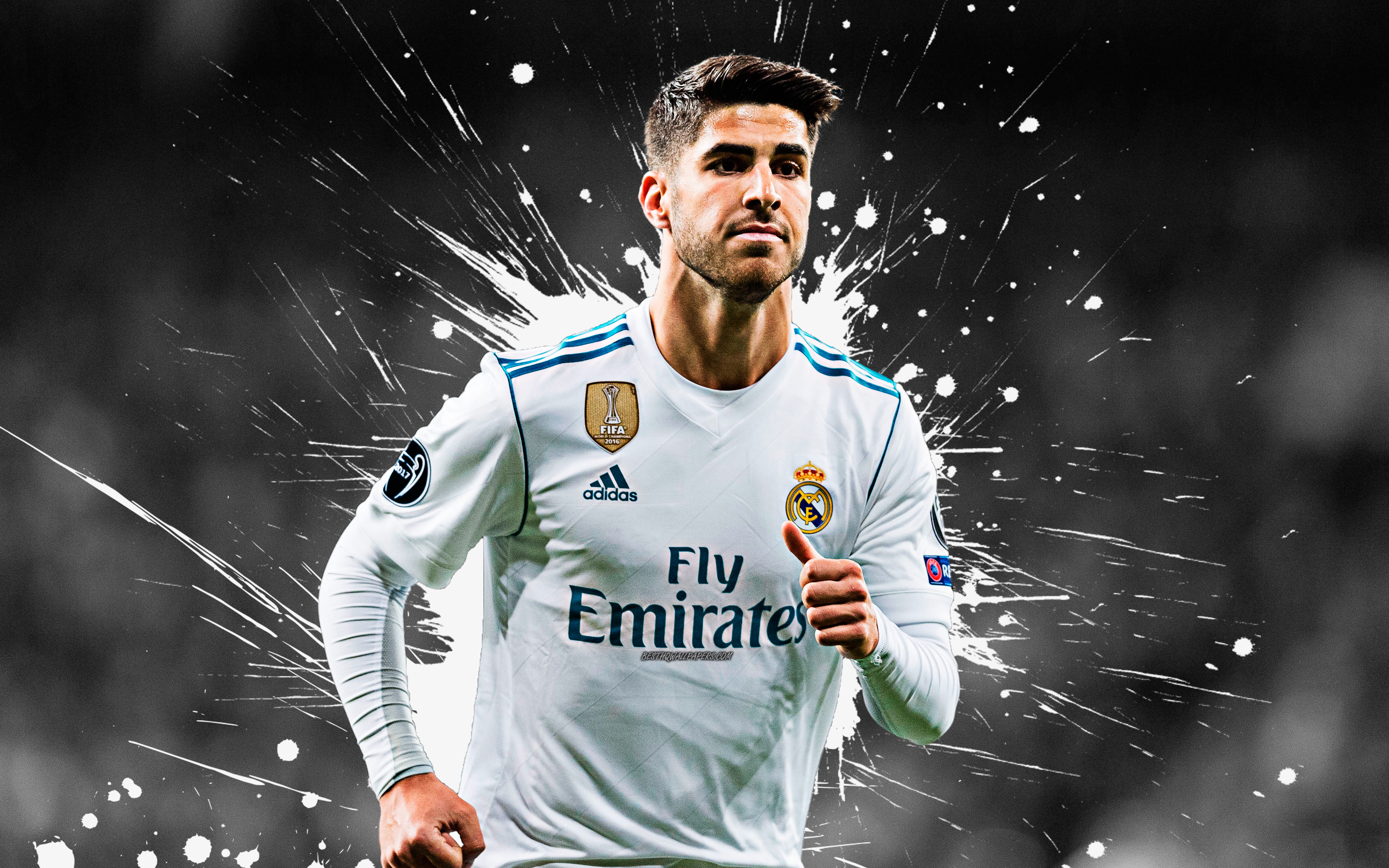 Download wallpapers Marco Asensio 4k Real Madrid art splashes 3840x2400