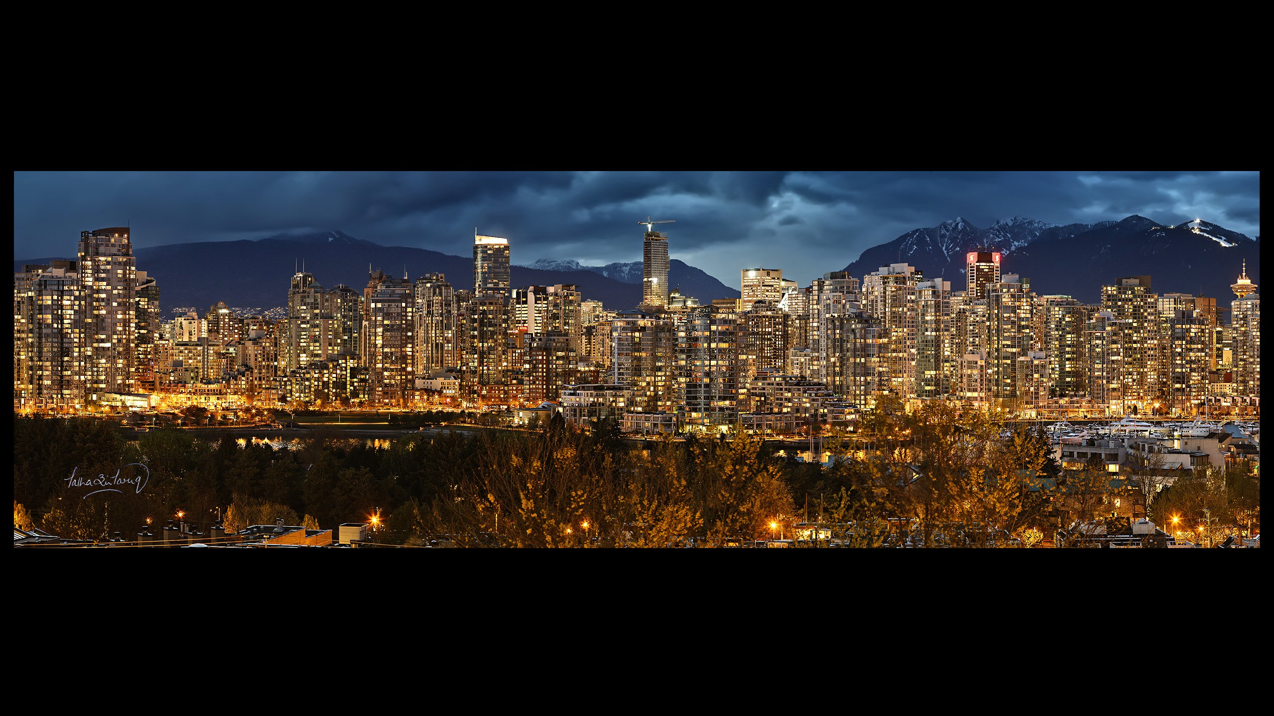 night wallpaper skyline city vancouver wallpapersjpg 2560x1440