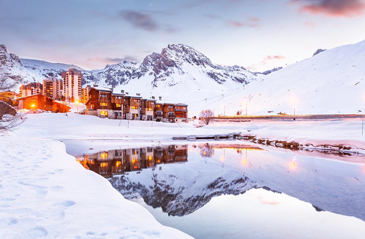 Photos Alps France Tignes Nature Winter Mountains Snow Cities 1280x837